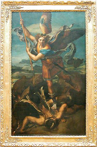 Raffaello SANTI, dit RAPHAËL - Urbino, 1483 - Rome, 1520 Saint Michel terrassant le démon, dit Le Grand Saint Michel © Musée du Louvre/A. Dequier - M. Bard